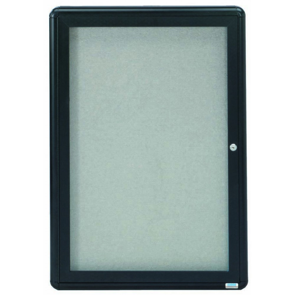 "Aarco Products RAB3624BL Radius Enclosed 1-Door Bulletin Board, Graphite/Grey, 36""H x 24""W"