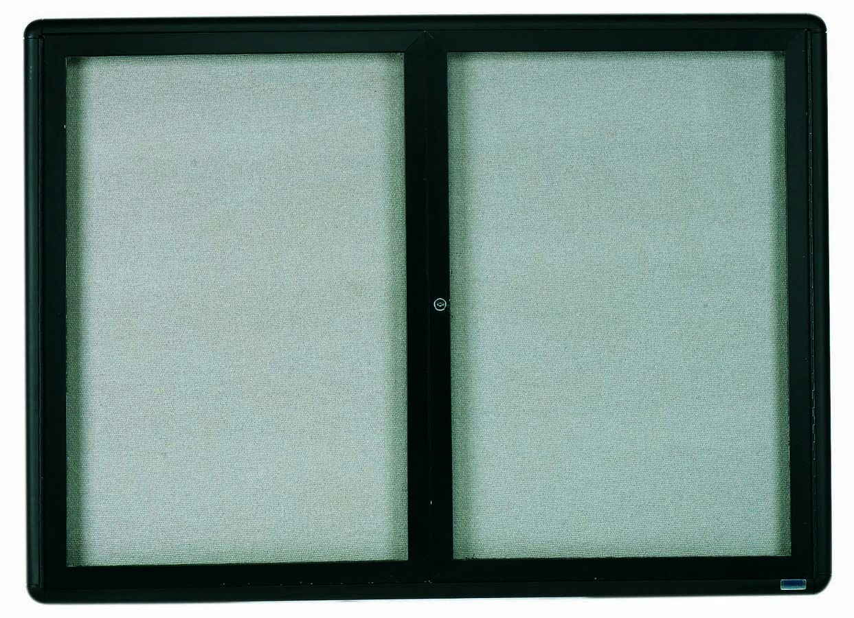 "Aarco Products RAB3648BL Radius Enclosed 2-Door Bulletin Board, Graphite/Grey, 36""H x 48""W"