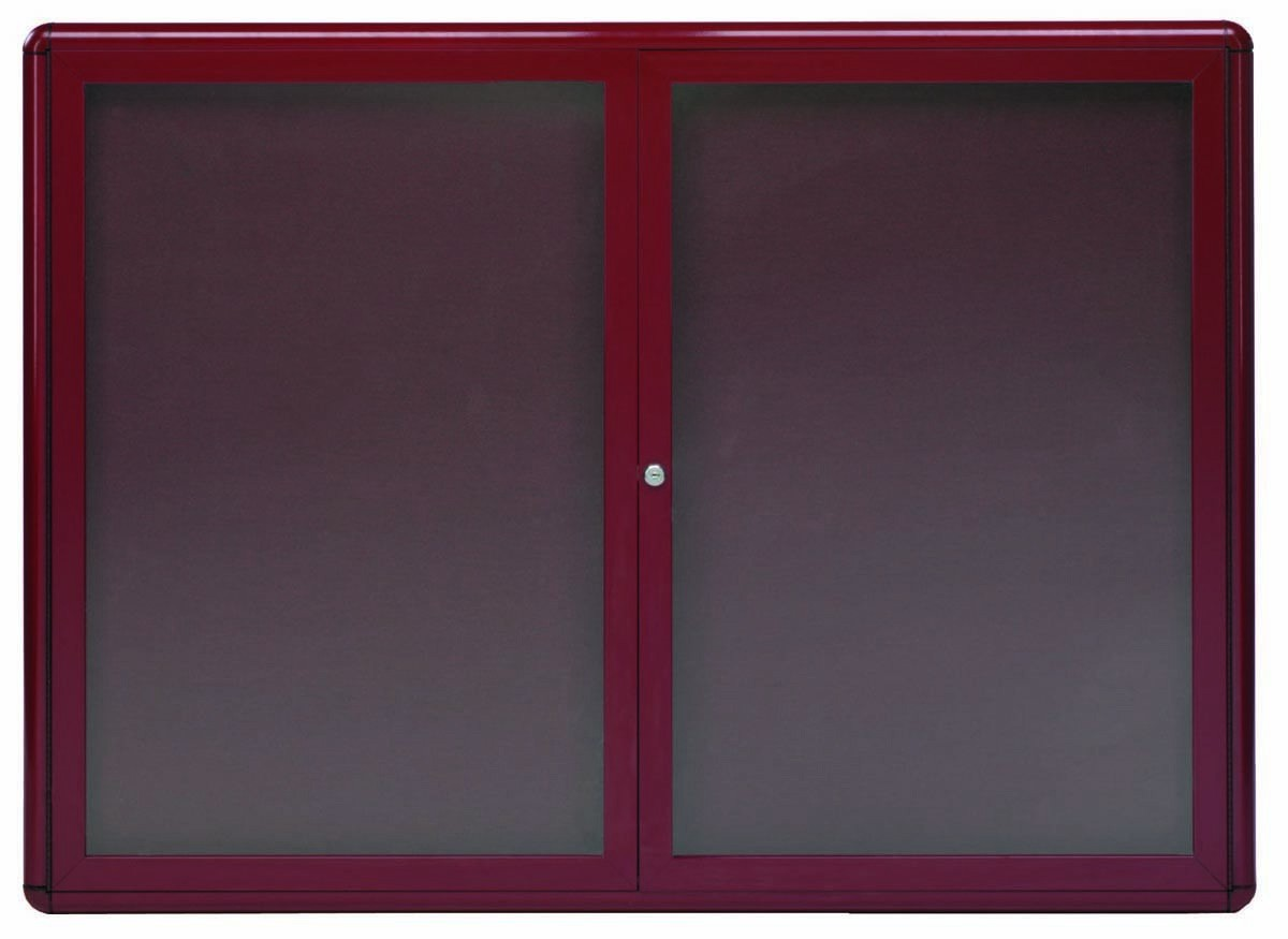 "Aarco Products RAB3648BU Radius Enclosed 2-Door Bulletin Board, Burgundy/Burgundy, 36""H x 48""W"
