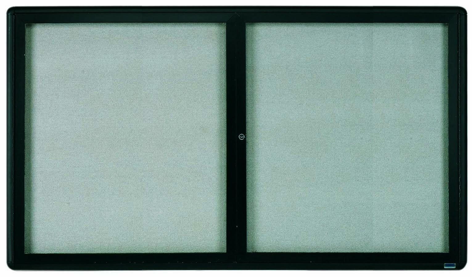 "Aarco Products RAB3660BL Radius Enclosed 2-Door Bulletin Board, Graphite/Grey, 36""H x 60""W"
