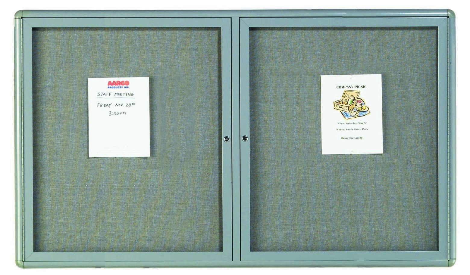"Aarco Products RAB3660GG Radius Enclosed 2-Door Bulletin Board, Grey/Grey, 36""H x 60""W"