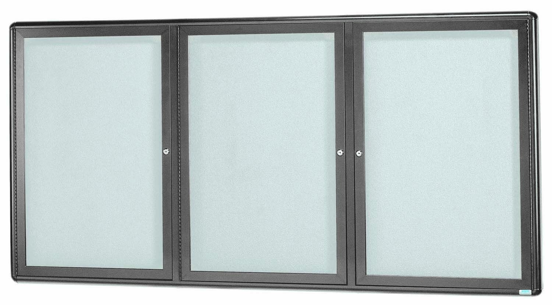 "Aarco Products RAB3672GG Radius Enclosed 2-Door Bulletin Board, Grey/Grey, 36""H x 72""W"