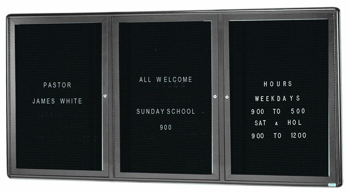 "Aarco Products RAD3672GB Radius Enclosed 2-Door Bulletin Board Grey/Black, 36""H x 72""W"