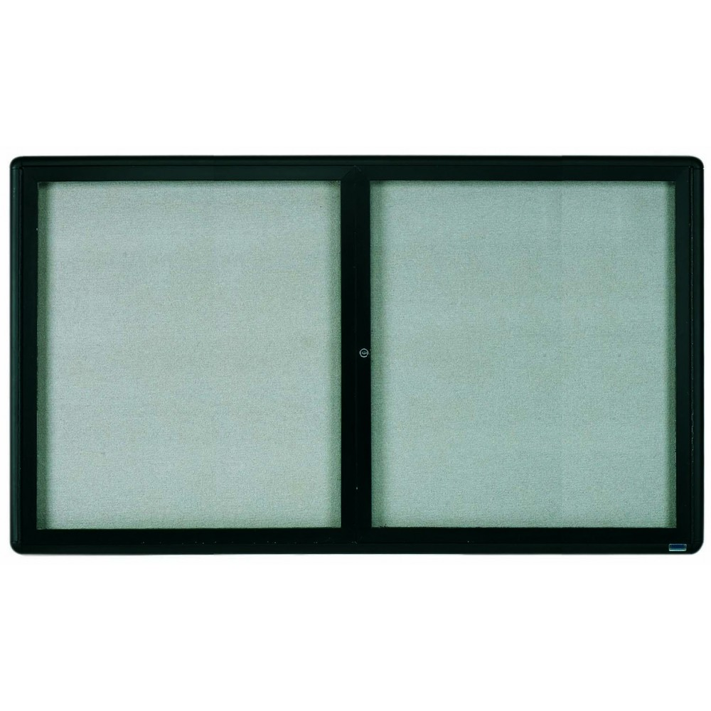 Radius Enclosed 2-Door Bulletin Board - Graphite/grey - 36