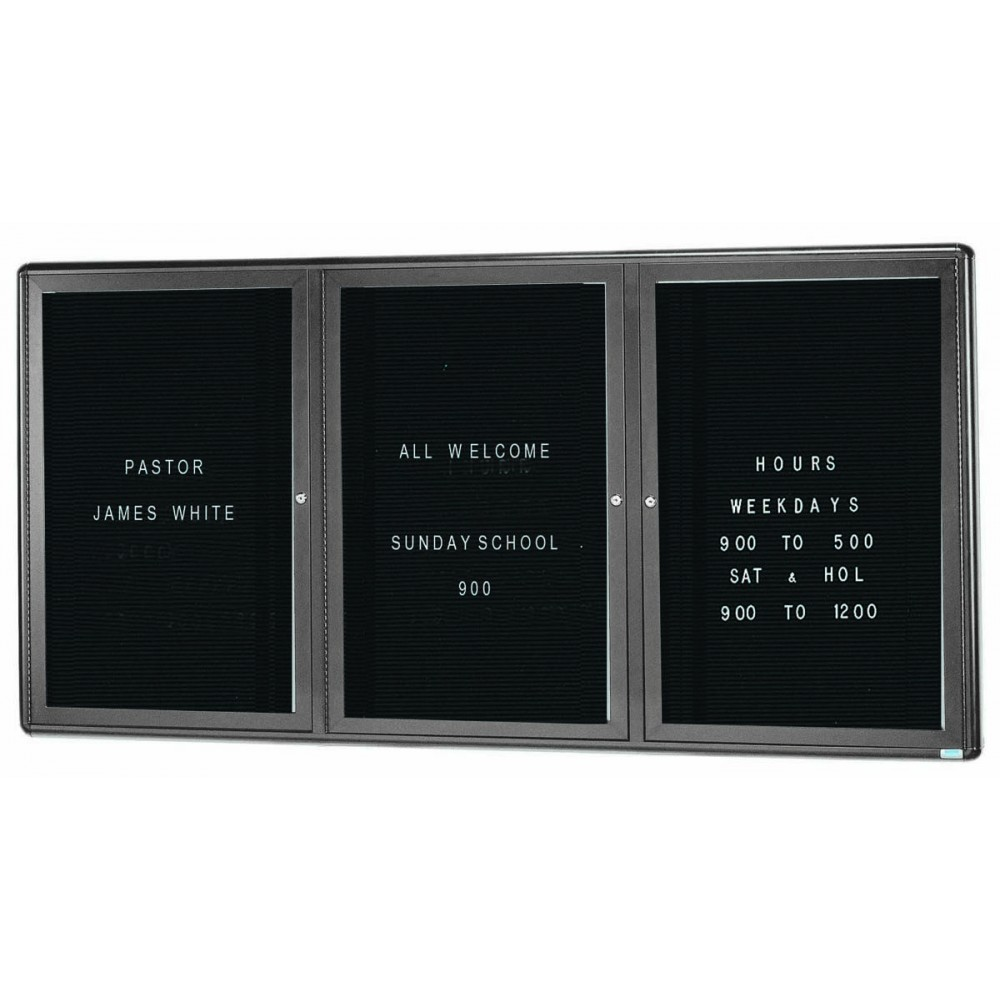 Radius Enclosed 2-Door Bulletin Board - Grey/black - 36