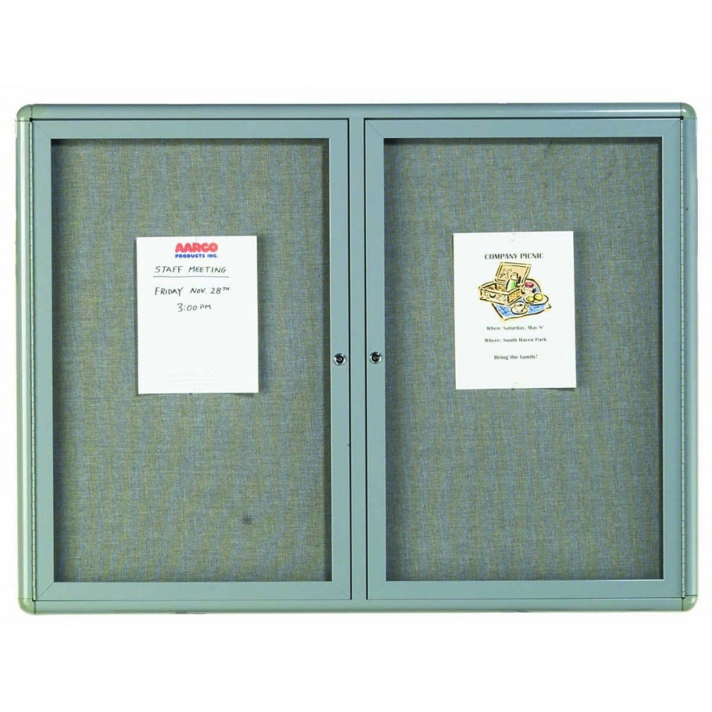 "Aarco Products RAB3648GG Radius Enclosed 2-Door Bulletin Board, Grey/Grey, 36""H x 48""W"