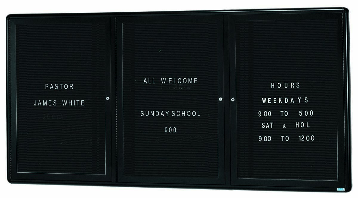 """Aarco Products RAD3672BU Radius Enclosed 2-Door Directory Board Graphite/Black, 36""""H x 72""""W"""