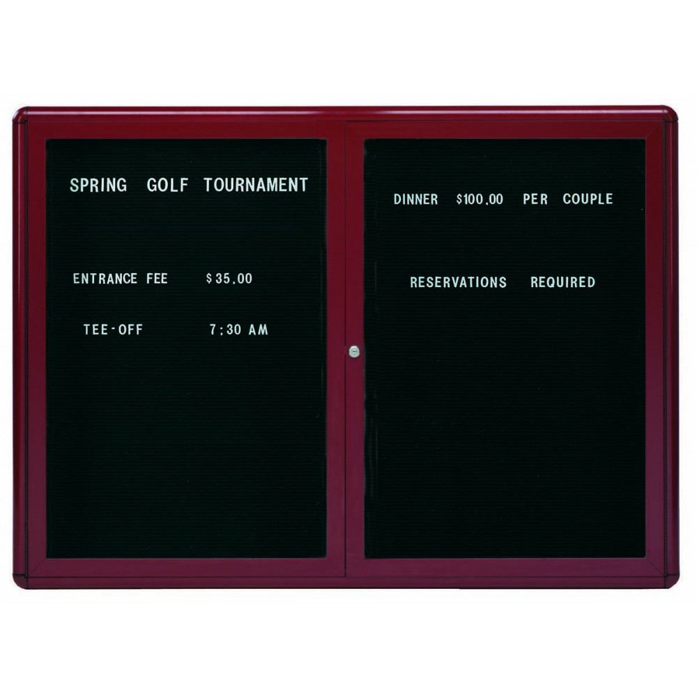 "Aarco Products RAD3648BB Radius Enclosed 2-Door Directory Board Burgundy/Black, 36""H x 48""W"