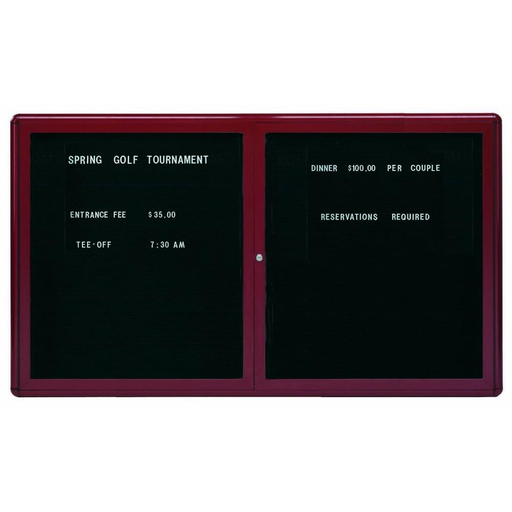"Aarco Products RAD3660BB Radius Enclosed 2-Door Directory Board Burgundy/Black, 36""H x 60""W"