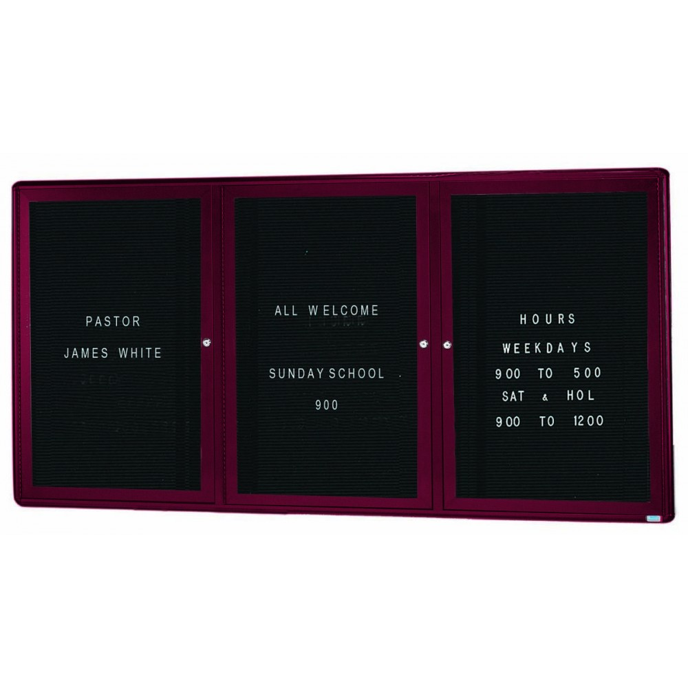 Radius Enclosed 2-Door Directory Board - Burgundy/black - 36