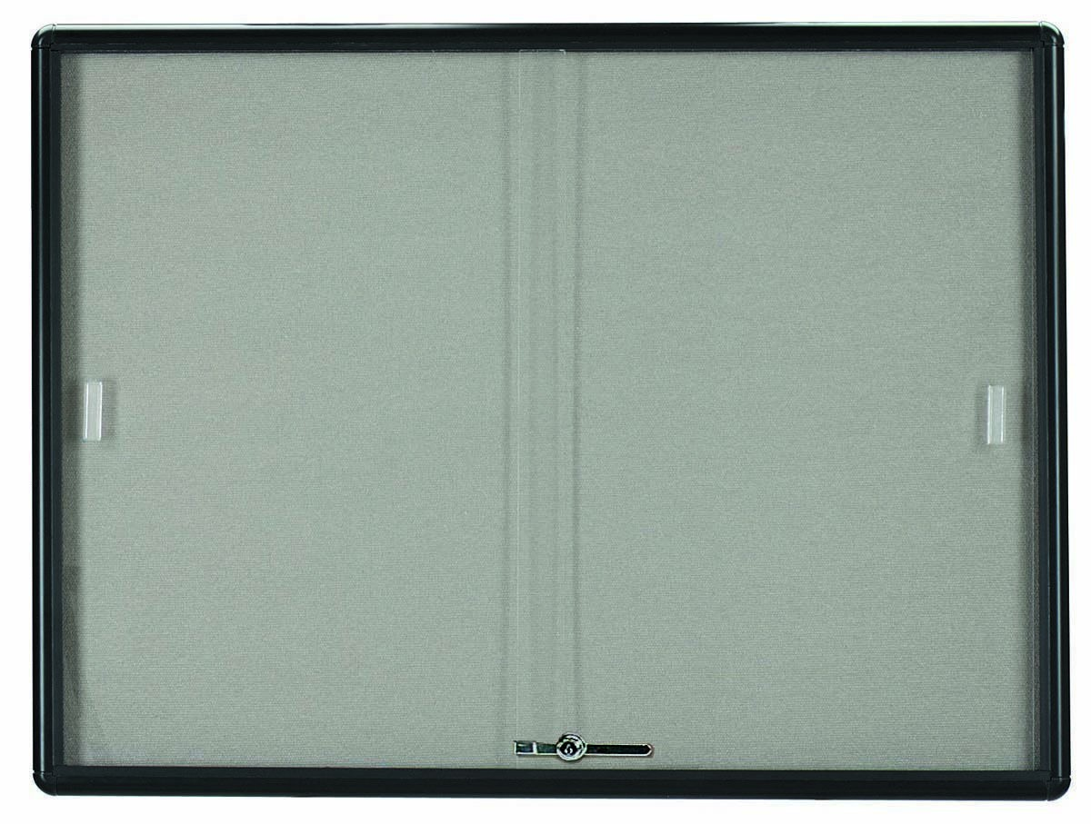 "Aarco Products RSB3648BL Radius Enclosed Sliding Door Bulletin Board, Graphite/Grey, 36""H x 48""W"