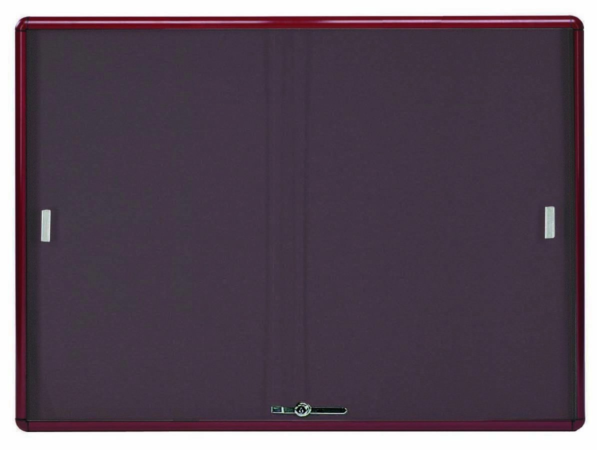 Radius Enclosed Sliding Door Bulletin Board - Burgundy/burgundy - 36