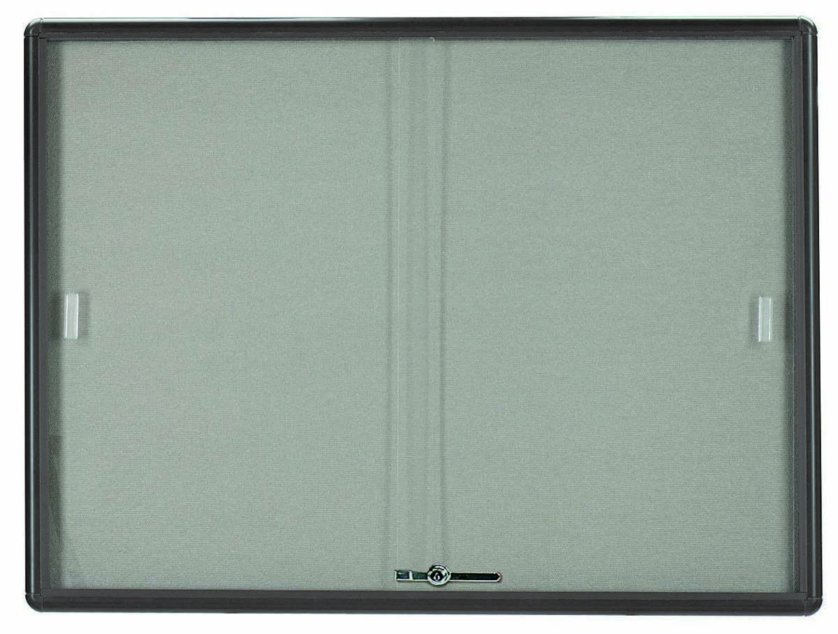 Radius Enclosed Sliding Door Bulletin Board - Grey/grey - 36