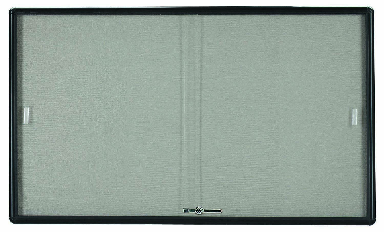 "Aarco Products RSB3660BL Radius Enclosed Sliding Door Bulletin Board, Graphite/Grey, 36""H x 60""W"