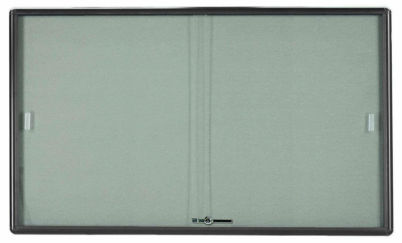 "Aarco Products RSB3660GG Radius Enclosed Sliding Door Bulletin Board, Grey/Grey, 36""H x 60""W"