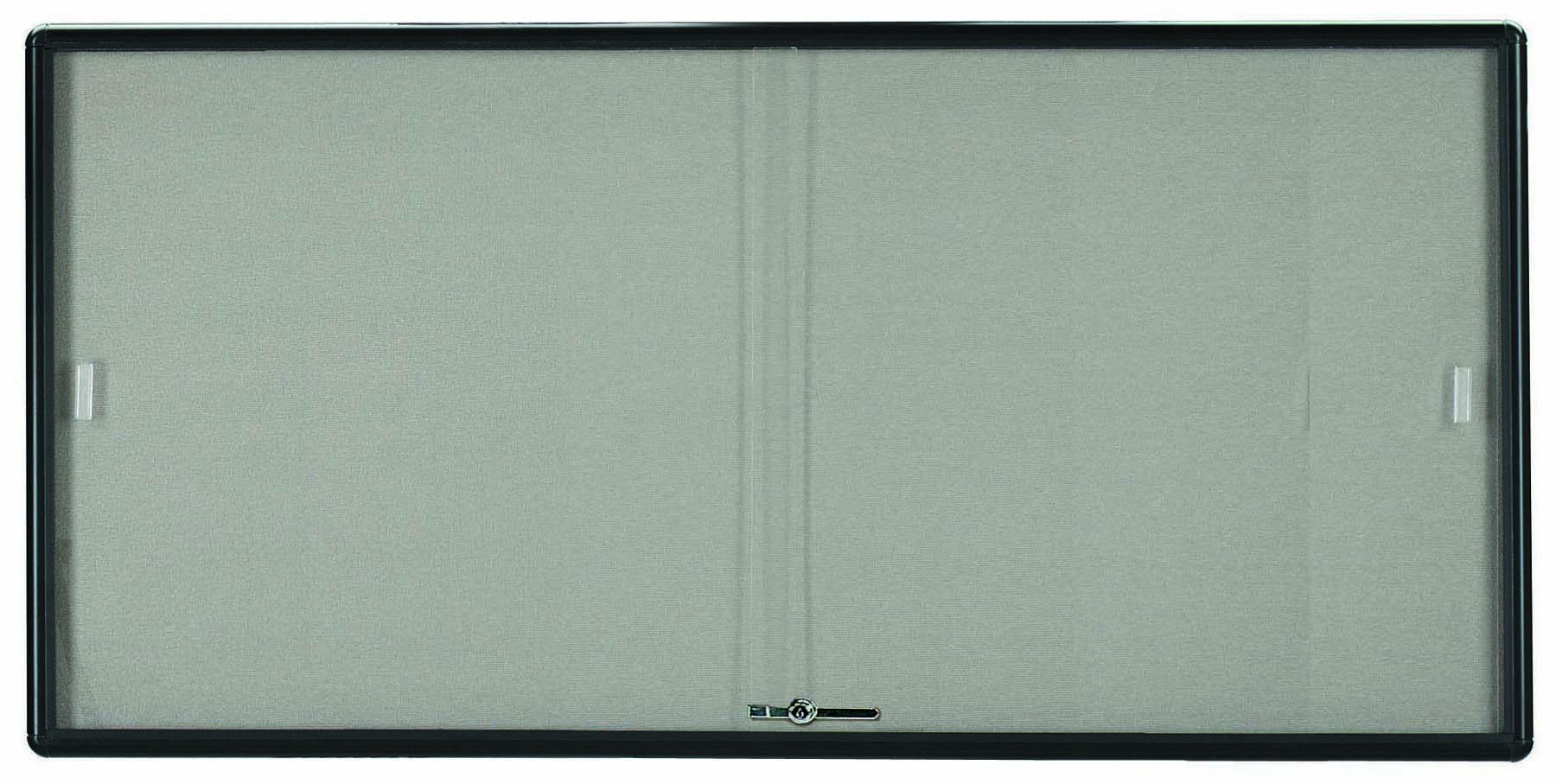 "Aarco Products RSB3672BL Radius Enclosed Sliding Door Bulletin Board, Graphite/Grey, 36""H x 72""W"