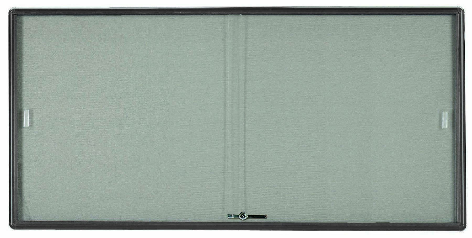 "Aarco Products RSB3672GG Radius Enclosed Sliding Door Bulletin Board, Grey/Grey, 36""H x 72""W"
