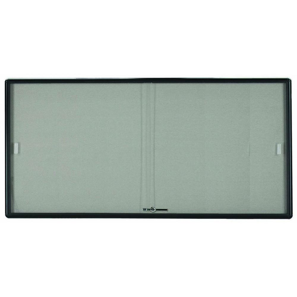 "Aarco Products RSB3672BL Radius Enclosed Sliding Door Bulletin Board, Graphite/Grey, 36""H x 72""W"