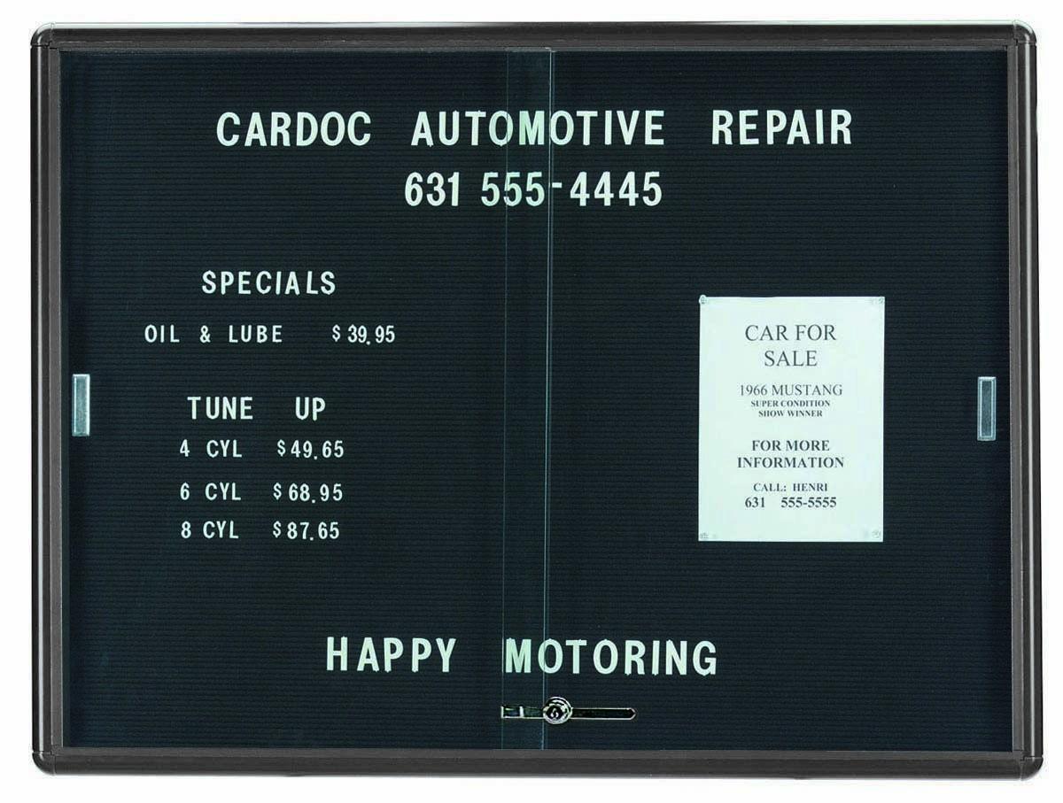"Aarco Products RSD3648GB Radius Enclosed Sliding Door Directory Board, Grey/Black, 36""H x 48""W"