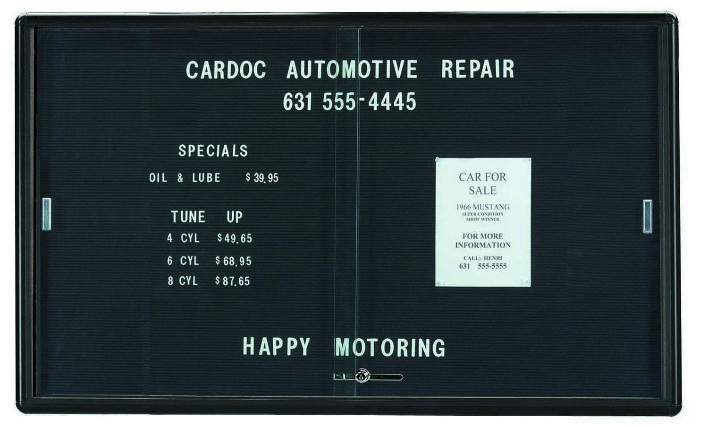 "Aarco Products RSD3660BU Radius Enclosed Sliding Door Directory Board, Graphite/Black, 36""H x 60""W"