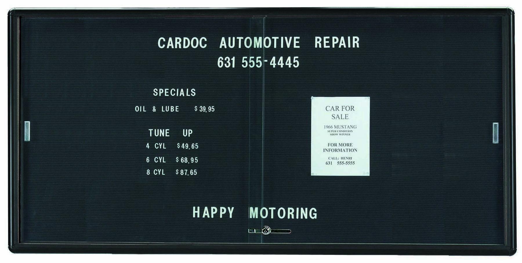 "Aarco Products RSD3672BU Radius Enclosed Sliding Door Directory Board, Graphite/Black, 36""H x 72""W"