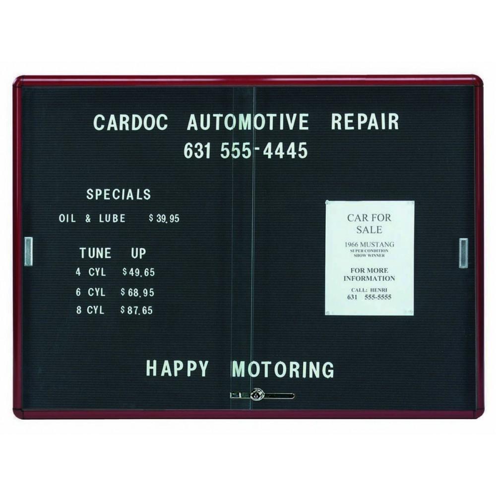 "Aarco Products RSD3648BB Radius Enclosed Sliding Door Directory Board, Burgundy/Black, 36""H x 48""W"