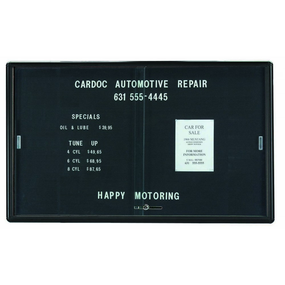 Radius Enclosed Sliding Door Directory Board - Graphite/black - 36