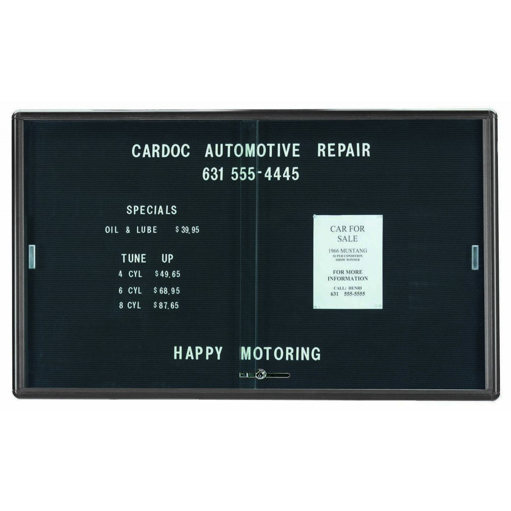 Radius Enclosed Sliding Door Directory Board - Grey/black - 36