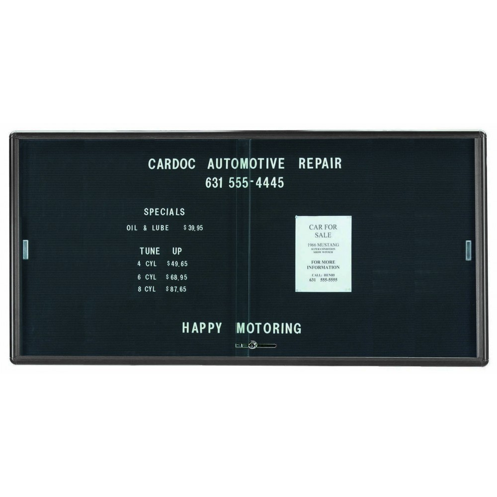 "Aarco Products RSD3672GB Radius Enclosed Sliding Door Directory Board, Grey/Black, 36""H x 72""W"