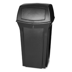 Ranger Trash Container with 2 Doors, 35 Gallon, Black