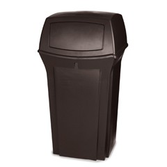 Ranger Trash Container with 2 Doors, 35 Gallon, Brown