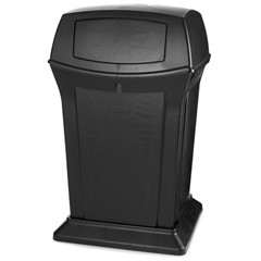 Ranger Trash Container with 2 Doors, 45 Gallon, Black