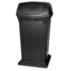 Ranger Trash Receptacle with 2 Doors, 65 Gallon, Black