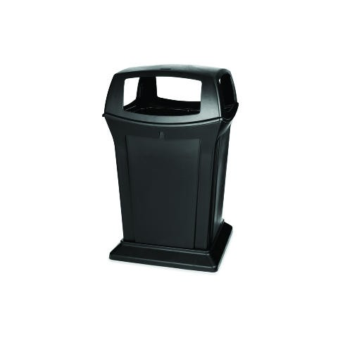 Ranger Trash Receptacle with 4 Doors, 45 Gallon, Black