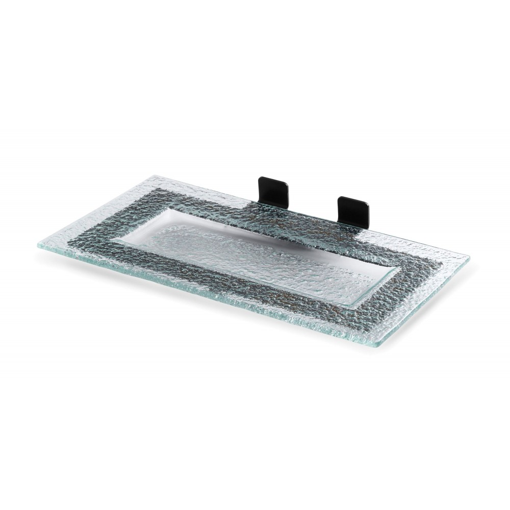 "Rosseto SM207 Rectangle Green Glass Shelf with Black Matte Metal Frame for Skycap 13.6"" x 8.6"" x 2.4""H"