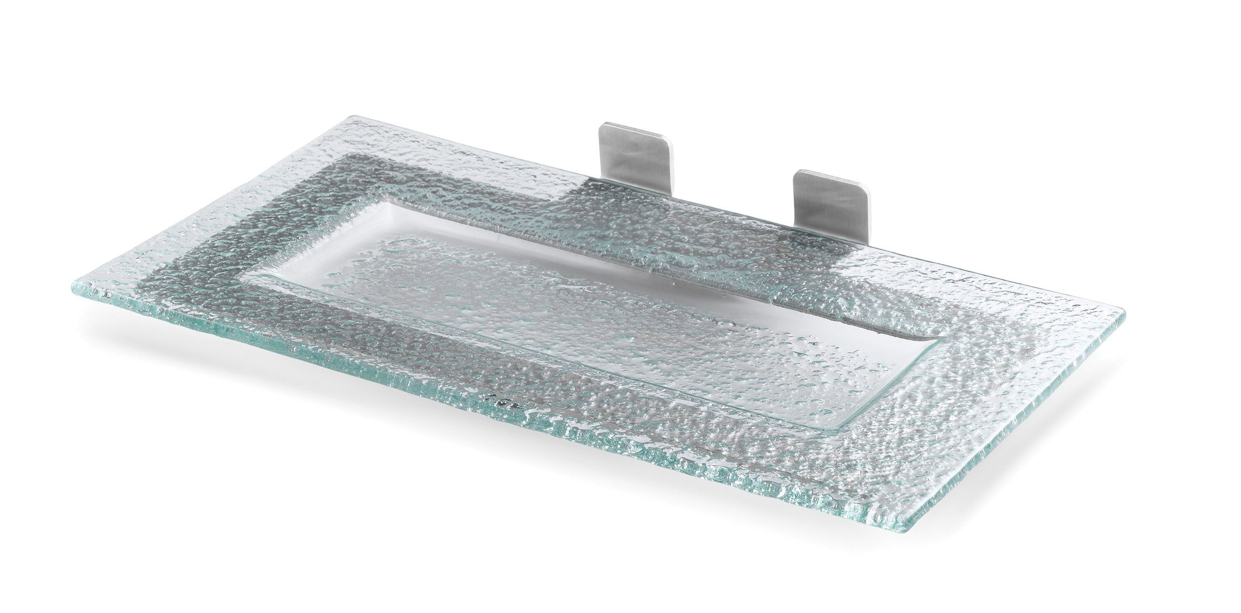 Rectangle Green Glass Shelf for  Includes: 1 Glass Platter, Stainless Steel Frame- 13.6