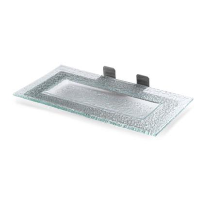 "Rosseto GSP13 Green Glass Rectangle Platter 13.6"" x 8.6"" x 2.4""H"