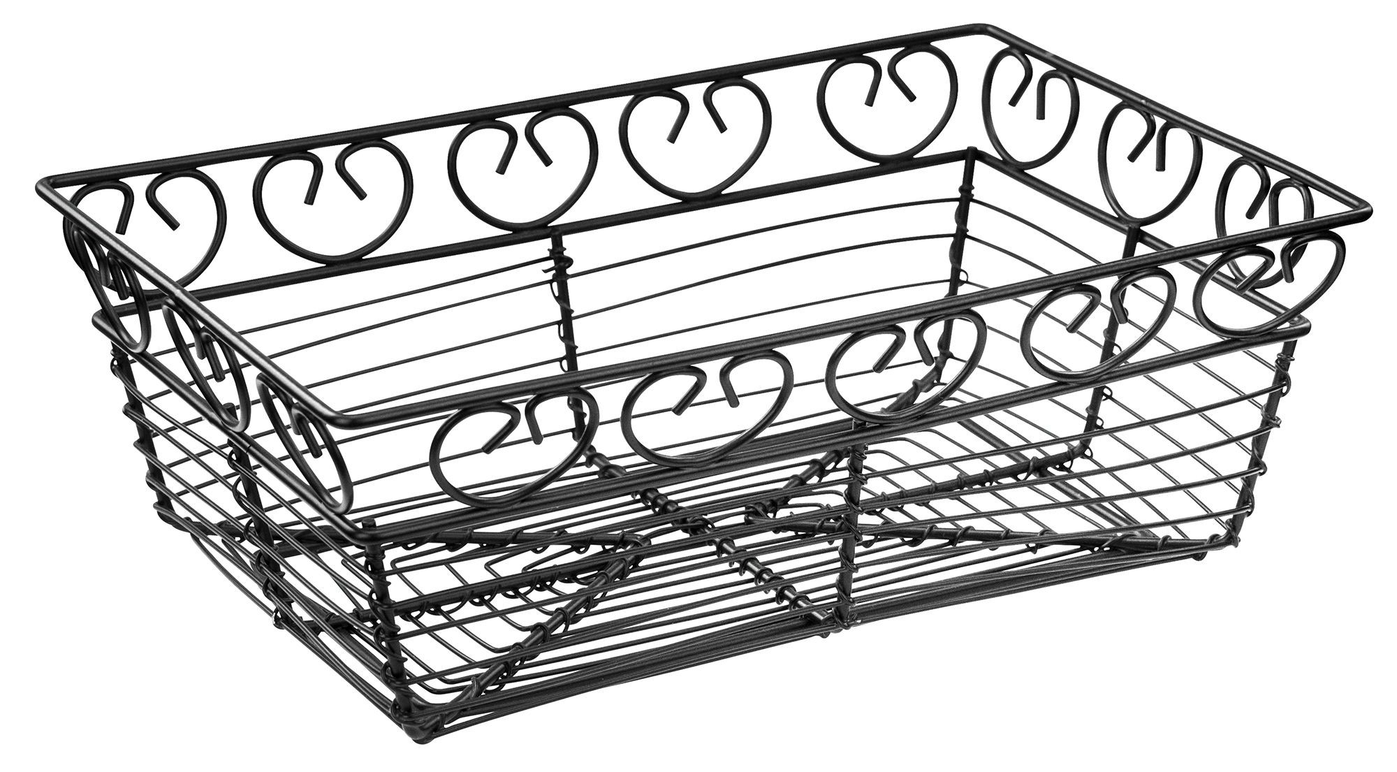 """Winco WBKG-9 Rectangular Black Metal Wire Bread Basket 9"""""""