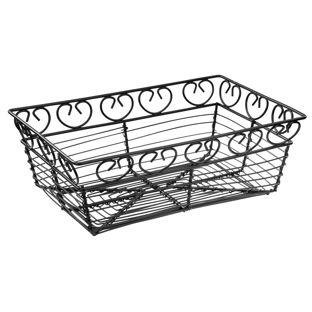 Rectangular Black Metal Wire Bread Basket 9