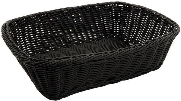 """Winco PWBK-118T Rectangular Black Poly Woven Basket 11-1/2"""" x 8-1/2"""" x 3-1/2"""""""