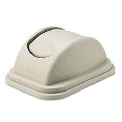 Rectangular Free-Swinging Plastic Garbage Can  Lids, Beige
