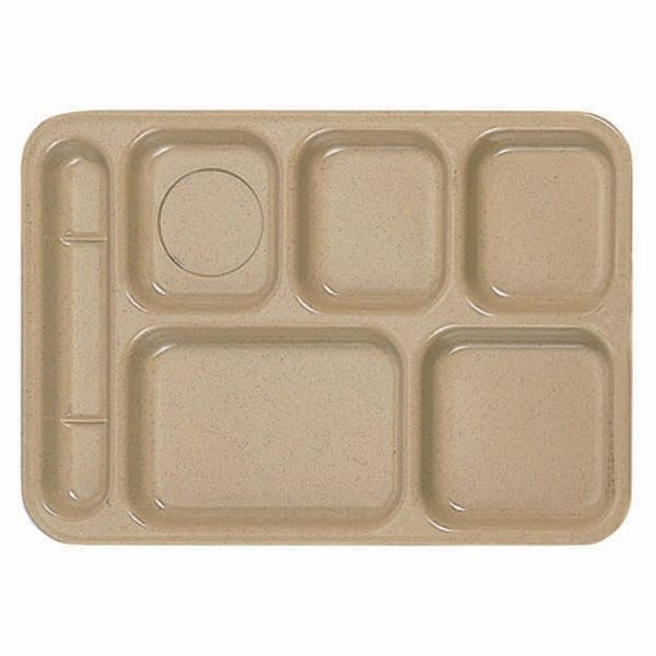 "Thunder Group ML801S Rectangular Left-Handed 6-Compartment Tray 10"" x 14"""