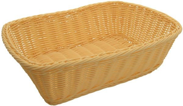 "Winco PWBN-118T Rectangular Natural Poly Woven Basket 11-1/2"" x 8-1/2"" x 3-1/2"""