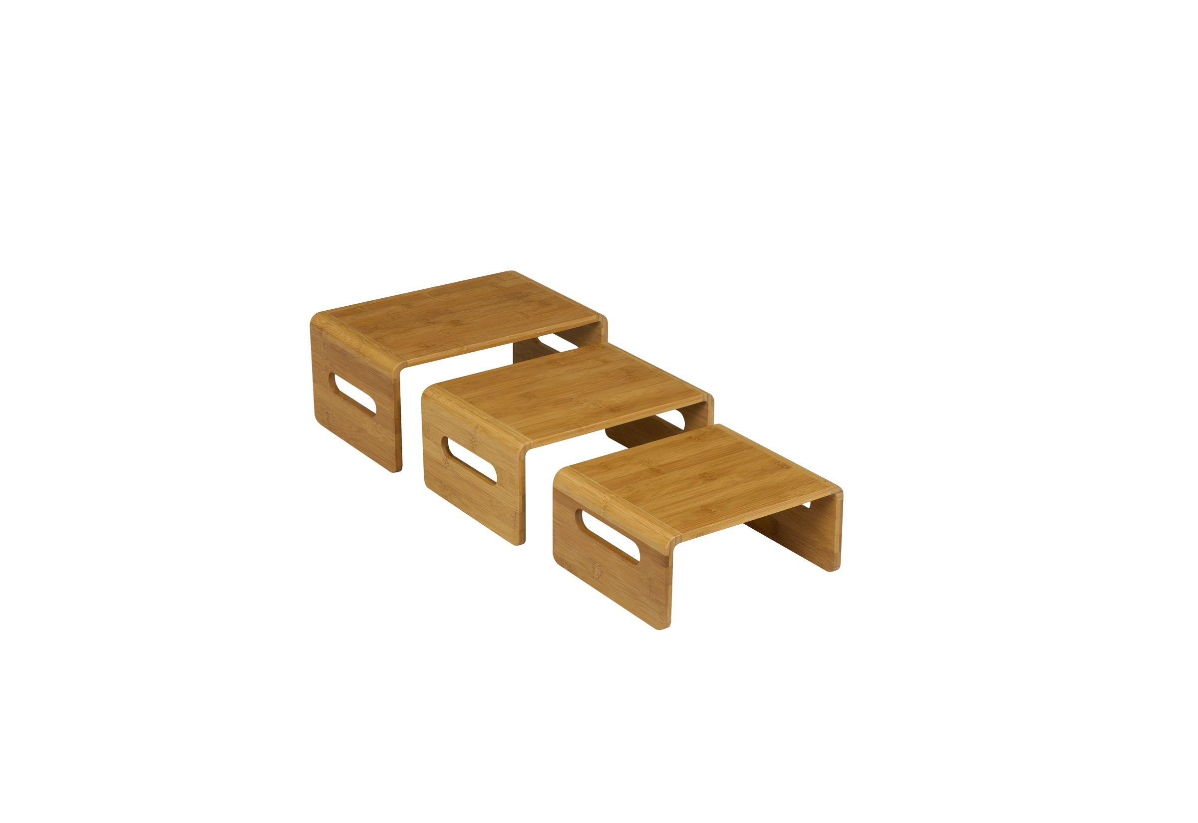 Rectangular Riser Bamboo Natural Finish 3 Piece Set- 11