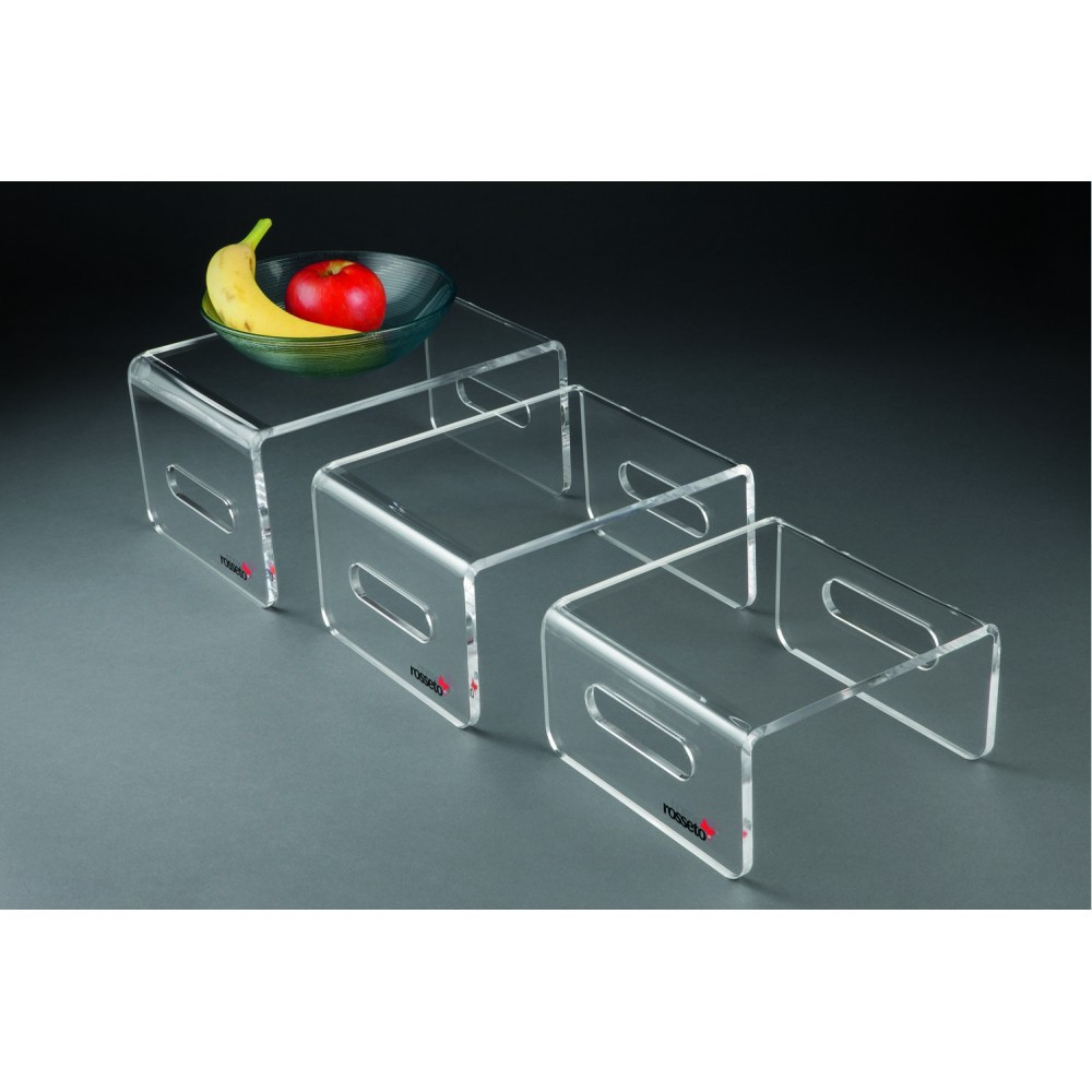 "Rosseto RDC107 Clear Acrylic Rectangular Risers Set of 3, 11"" x 8"" x 5.5""H"