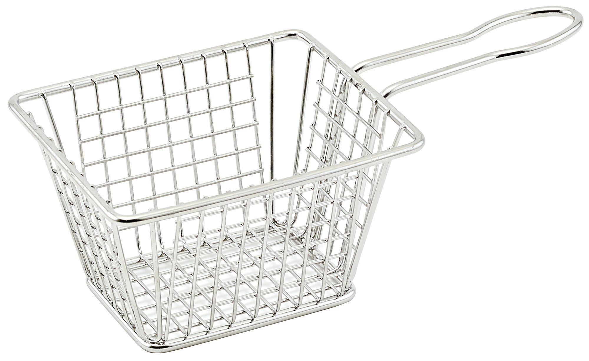 "Winco FBM-544T Rectangular Stainless Steel Mini Fry Basket 5"" x 4"" x 4"""