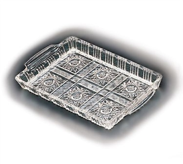 """TableCraft 1218C Rectangular Plastic Crystalware Serving Tray with Handles 12"""" x 18"""""""
