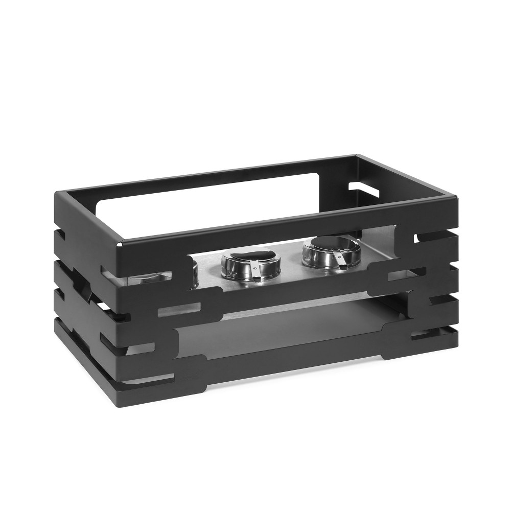 Rectangular Warmer Black Powder Coated Set: Stackable Frame and Reversible SS Fuel Holder Frame & 3 Fuel Holders- 21.6