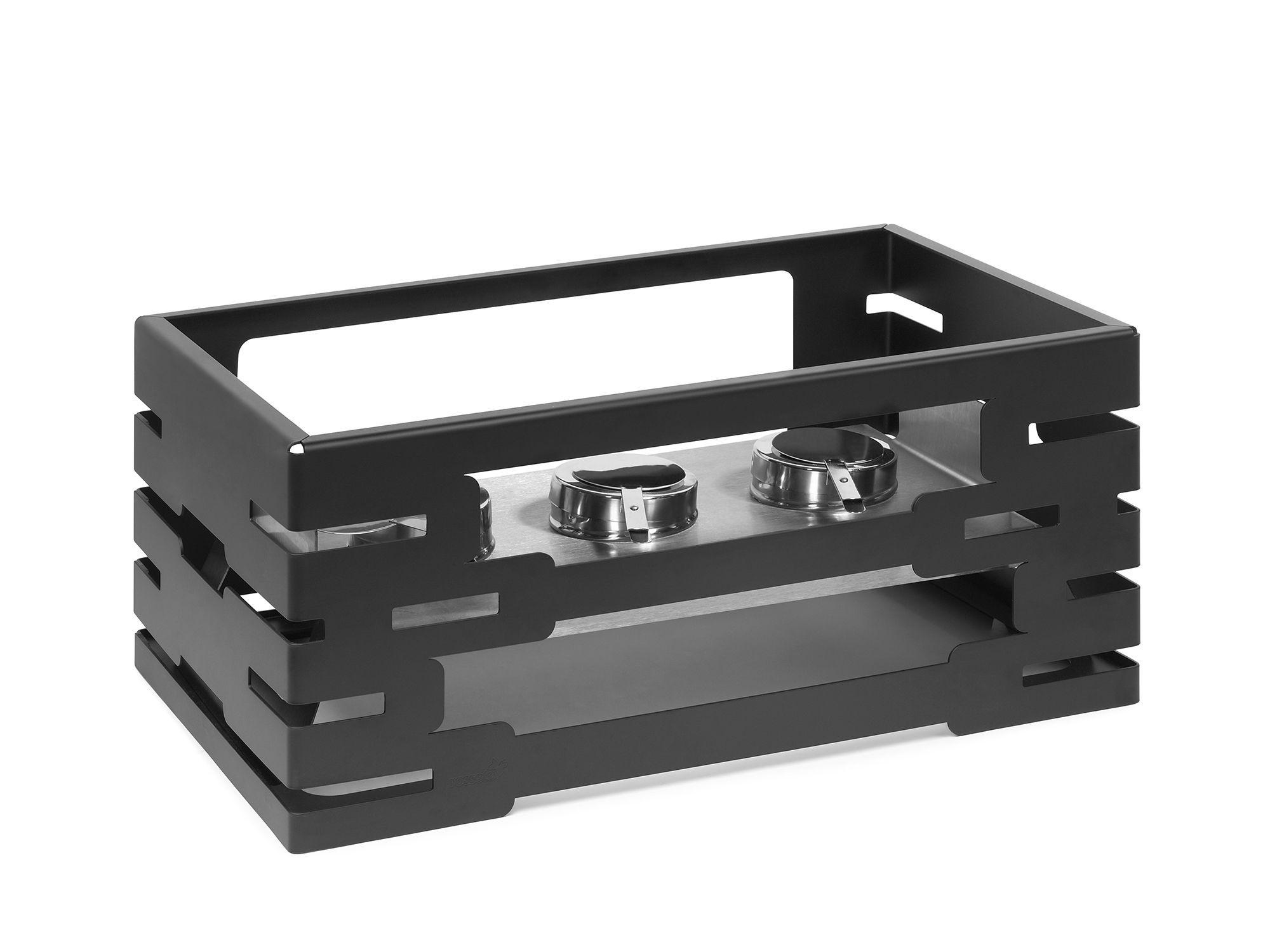 "Rosseto SM195 Multi-Chef™ 10"" Black Matte Steel Warmer with Burner Holder 21.6"" x 13.57"" x 10""H"