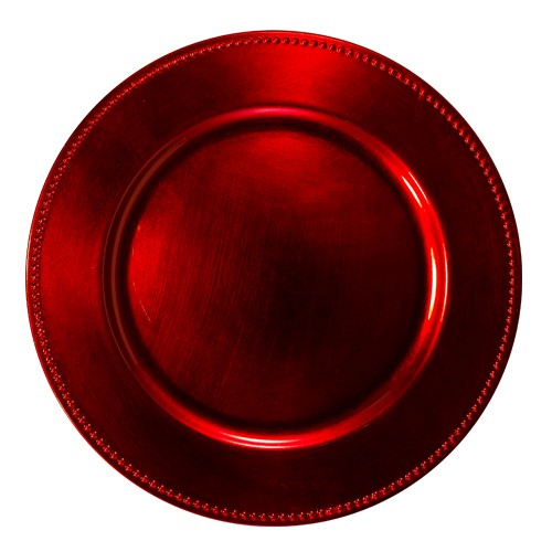 Jay Import 1270170 Red Beaded Charger Plate, 13""